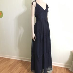 Navy full length dress with lace by aqua